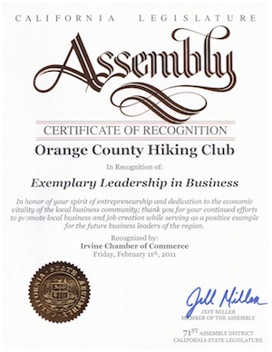 Exemplary Leadership award OC Hiking Club