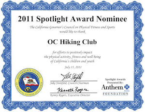 Spotlight Award Governors Council OC Hiking Club